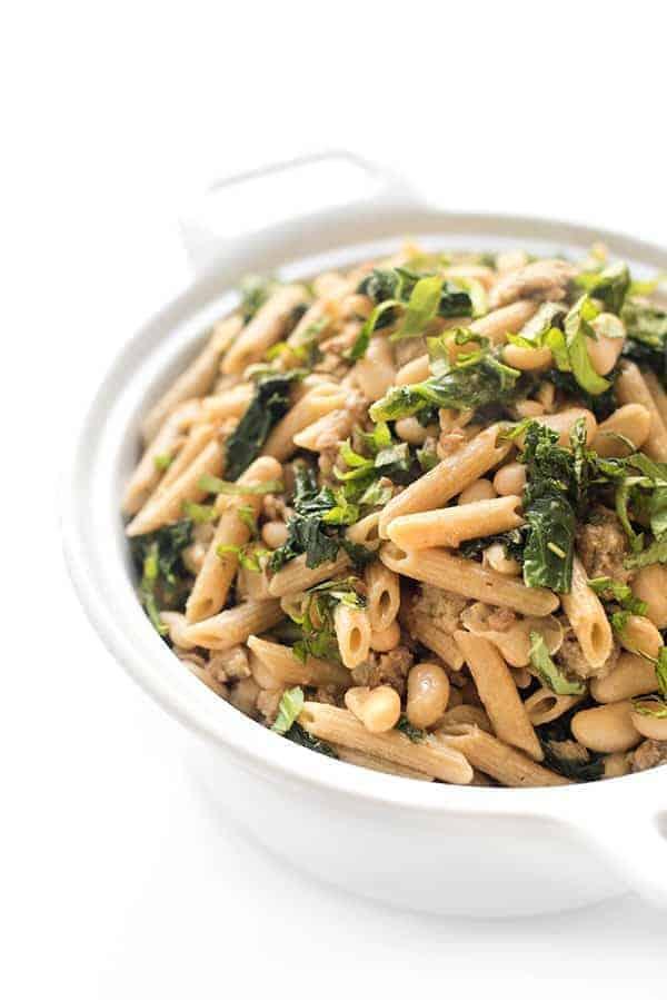 Garlic White Bean Pasta with Swiss Chard