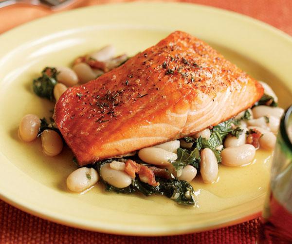 Thyme Salmon with Tuscan Bean Salad